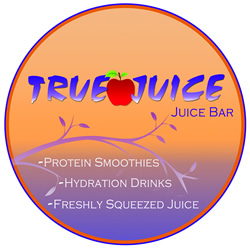 True Juice logo with apple, branch and text